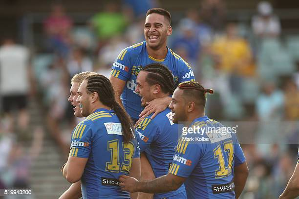 Corey Norman and Brad Takairangi of the Eels celebratof the Eels Brad Takairangi scoring a try during the round six NRL match between the Parramatta...