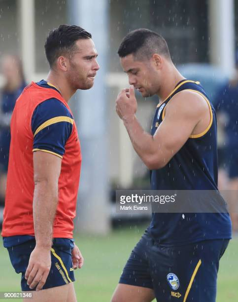 Corey Norman and Jarryd Hayne during a Parramatta Eels NRL preseason training session at Old Saleyards Reserve on January 3 2018 in Sydney Australia