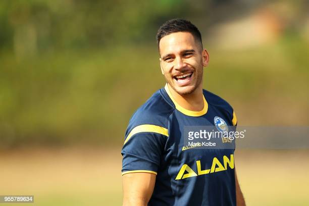 Corey Norman laughs as he warmsups during a Parramatta Eels NRL training session at the Old Saleyards Reserve on May 8 2018 in Sydney Australia