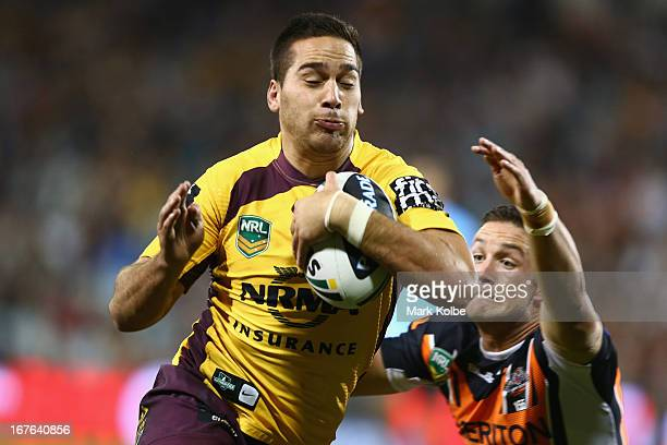 Corey Norman of the Broncos crosses for a try during the round seven NRL match between the Wests Tigers and the Brisbane Broncos at Campbelltown...