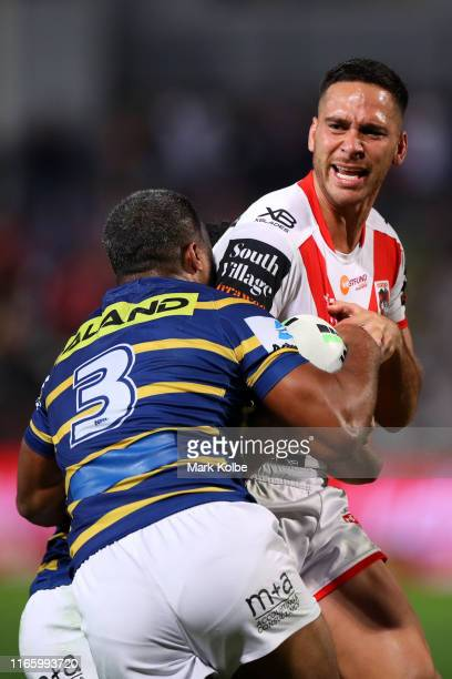 Corey Norman of the Dragons charges forward during the round 20 NRL match between the St George Illawarra Dragons and the Parramatta Eels at WIN...