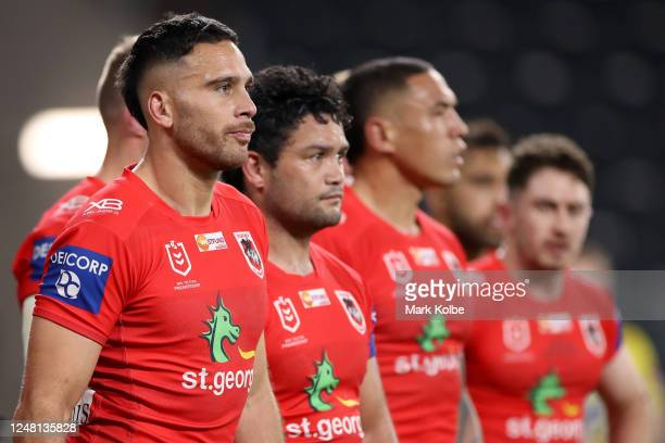 Corey Norman of the Dragons looks on during the round four NRL match between the Canterbury Bulldogs and the St George Illawarra Dragons at Bankwest...
