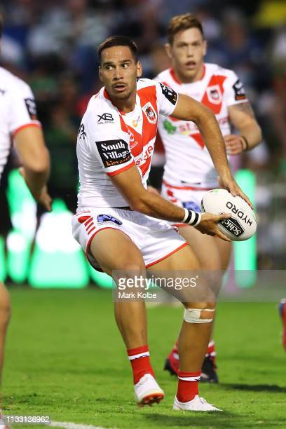 Corey Norman of the Dragons passes during the NRL Trial match, which is the Charity Shield match between the South Sydney Rabbitohs and the St George...