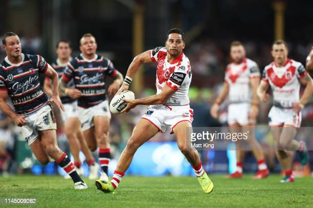 Corey Norman of the Dragons passes during the round 7 NRL match between the Sydney Roosters and the St George Illawarra Dragons at the Sydney Cricket...