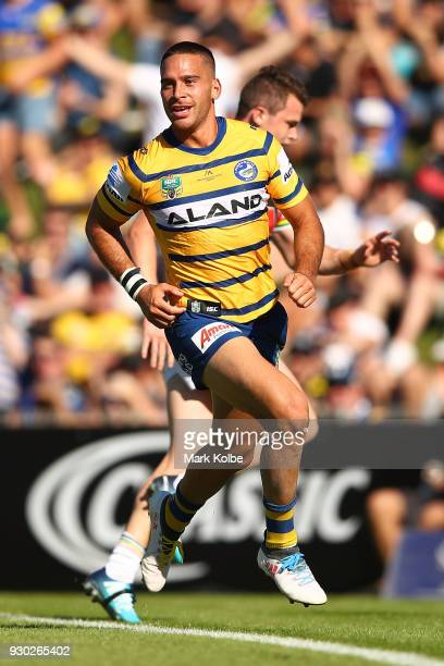 Corey Norman of the Eels celebrates after scoring a try during the round one NRL match between the Penrith Panthers and the Parramatta Eels at...