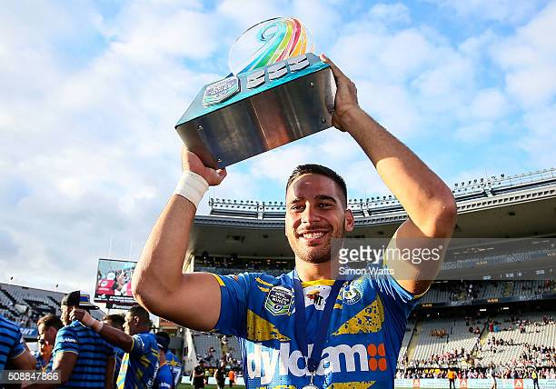 Corey Norman of the Eels celebrates after winning the 2016 Auckland Nines Grand Final match between the Warriors and the Eels at Eden Park on...