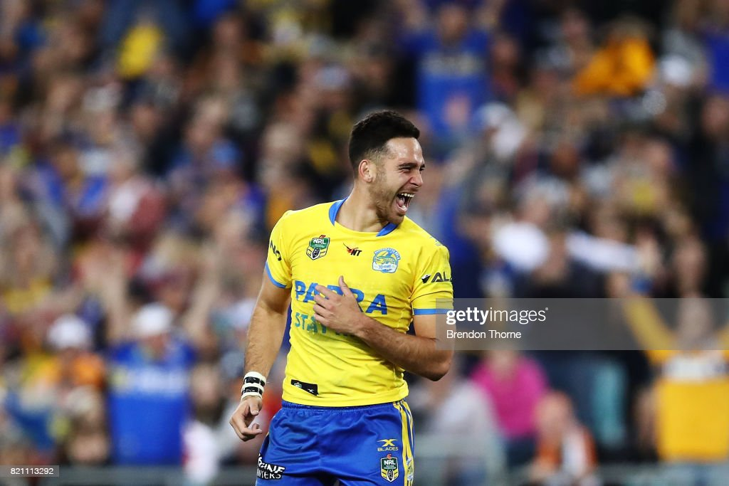 Corey Norman of the Eels celebrates kicking the winning field goal during the round 20 NRL match between the Wests Tigers and the Parramatta Eels at ANZ Stadium on July 23, 2017 in Sydney, Australia.