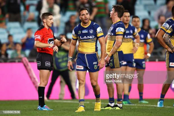 Corey Norman of the Eels looks dejected after being sent to the sin bin by referee Peter Gough during the round 20 NRL match between the South Sydney...