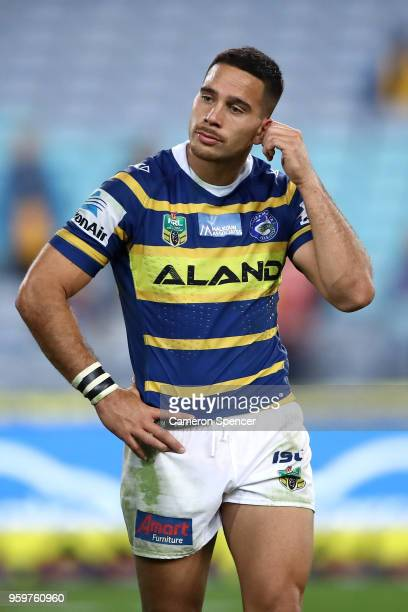 Corey Norman of the Eels looks dejected after losing the round 11 Parramatta Eels and the New Zealand Warriors at ANZ Stadium on May 18 2018 in...