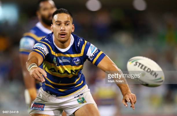 Corey Norman of the Eels passes during the round six NRL match between the Canberra Raiders and the Parramatta Eels at GIO Stadium on April 14 2018...