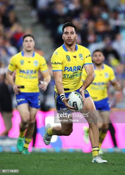 Corey Norman of the Eels runs the ball during the round 20 NRL match between the Wests Tigers and the Parramatta Eels at ANZ Stadium on July 23 2017...