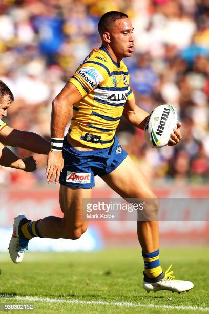 Corey Norman of the Eels runs the ball during the round one NRL match between the Penrith Panthers and the Parramatta Eels at Panthers Stadium on...