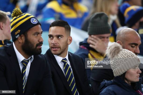 Corey Norman of the Eels watches the round 13 NRL match between the Parramatta Eels and the Newcastle Knights at ANZ Stadium on June 2 2018 in Sydney...