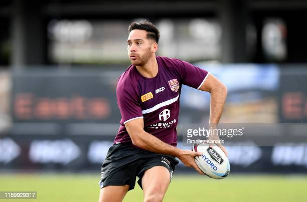 Corey Norman passes the ball during a Queensland Maroons State of Origin training session at Langlands Park on July 04, 2019 in Brisbane, Australia.
