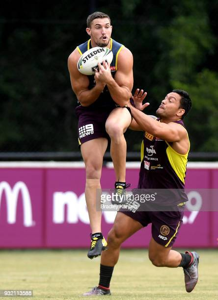 Corey Oates catches the ball during the Brisbane Broncos NRL training session on March 15 2018 in Brisbane Australia