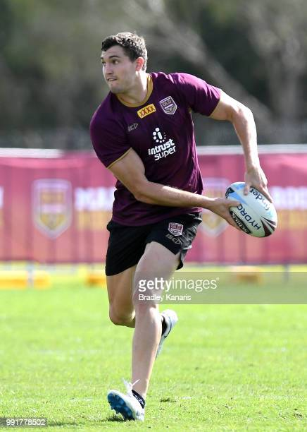 Corey Oates looks to pass during a Queensland Maroons State of Origin training session at Sanctuary Cove on July 5 2018 in Gold Coast Australia