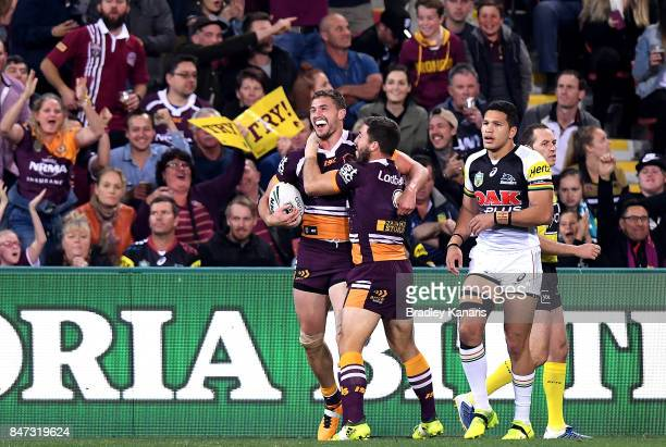 Corey Oates of the Broncos celebrates scoring a try during the NRL Semi Final match between the Brisbane Broncos and the Penrith Panthers at Suncorp...