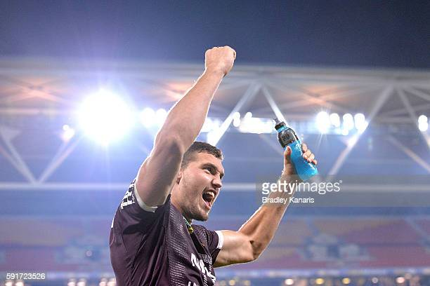 Corey Oates of the Broncos celebrates victory after the round 24 NRL match between the Brisbane Broncos and the Canterbury Bulldogs at Suncorp...