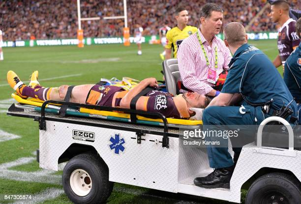 Corey Oates of the Broncos is injured during the NRL Semi Final match between the Brisbane Broncos and the Penrith Panthers at Suncorp Stadium on...