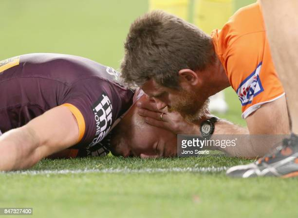 Corey Oates of the Broncos is seen on the ground after a collison during the NRL Semi Final match between the Brisbane Broncos and the Penrith...