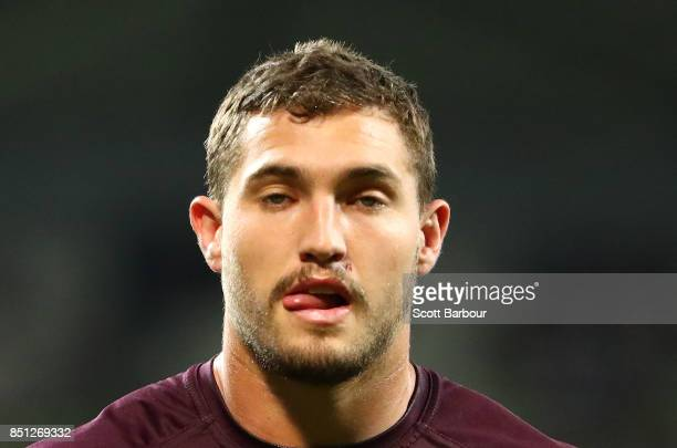 Corey Oates of the Broncos looks on during the warmup prior to the NRL Preliminary Final match between the Melbourne Storm and the Brisbane Broncos...
