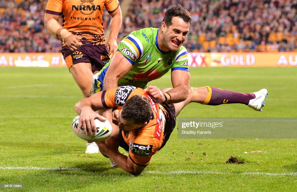 Corey Oates of the Broncos scores a try during the round 16 NRL match between the Brisbane Broncos and the Canberra Raiders at Suncorp Stadium on June 30, 2018 in Brisbane, Australia.