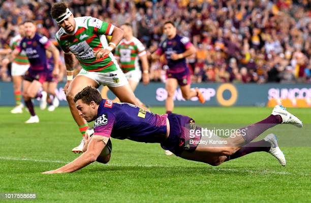 Corey Oates of the Broncos scores a try during the round 23 NRL match between the Brisbane Broncos and the South Sydney Rabbitohs at Suncorp Stadium...