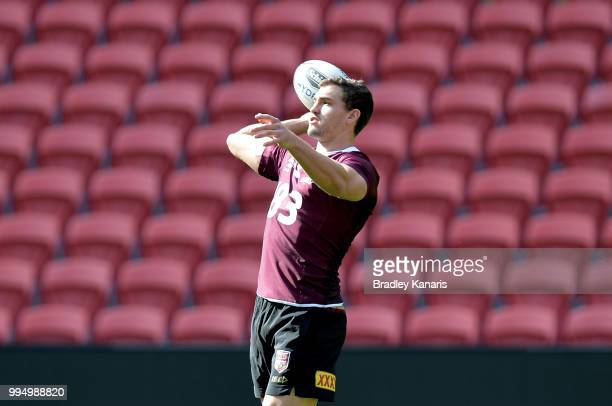 Corey Oates throws the ball during the Queensland Maroons State of Origin Captain's Run at Suncorp Stadium on July 10 2018 in Brisbane Australia