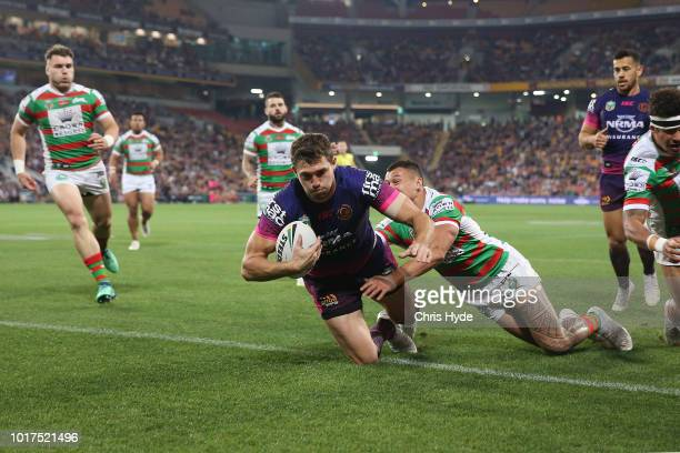 Corey Oats of the Broncos scores a try during the round 23 NRL match between the Brisbane Broncos and the South Sydney Rabbitohs at Suncorp Stadium...