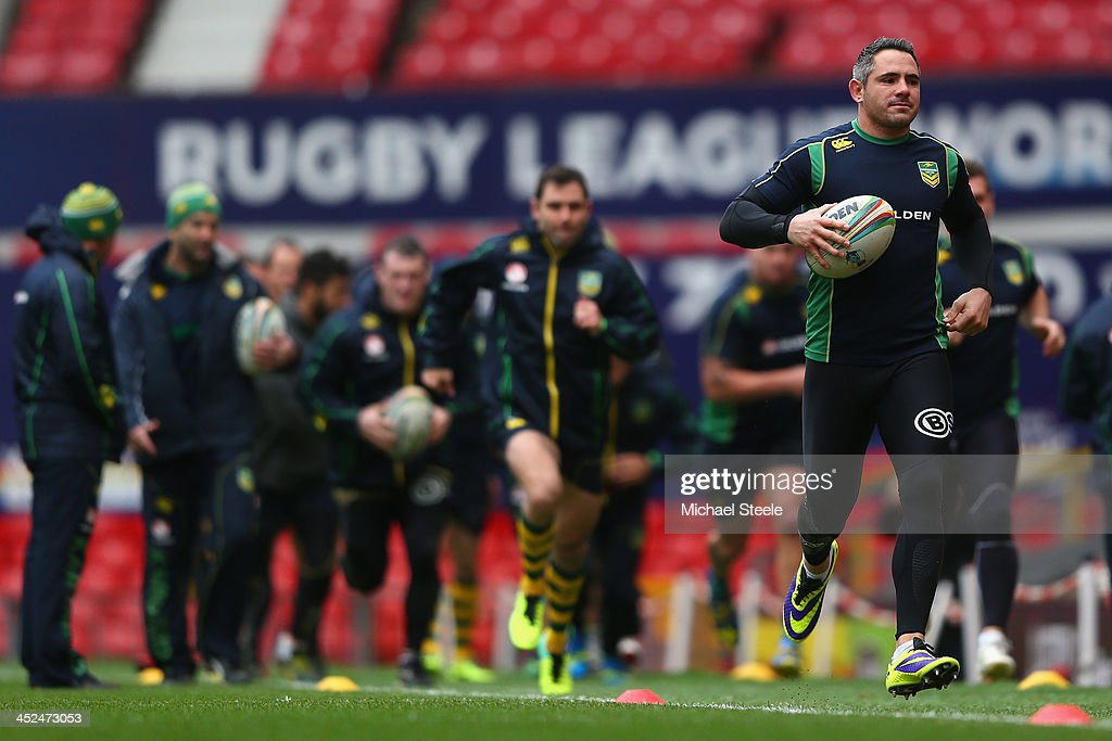 Corey Parker (R) during the Australia training session at Old Trafford on November 29, 2013 in Manchester, England.
