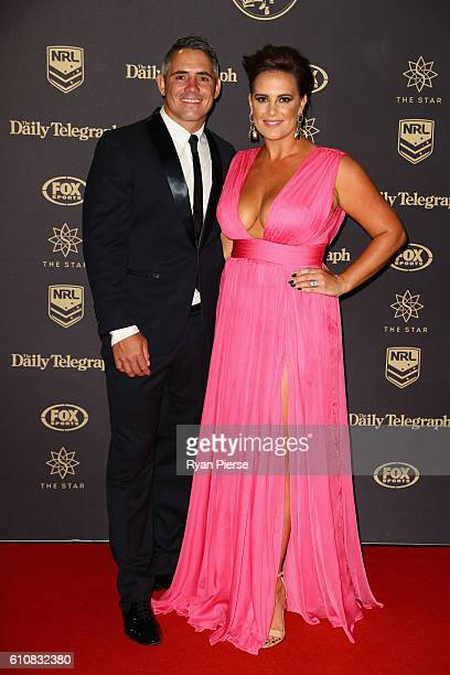 Corey Parker of the Brisbane Broncos and wife Margaux Parker arrive at the 2016 Dally M Awards at Star City on September 28 2016 in Sydney Australia