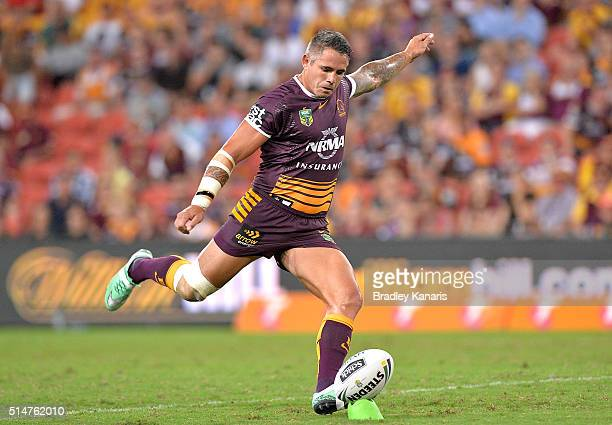 Corey Parker of the Broncos kicks the ball during the round two NRL match between the Brisbane Broncos and the New Zealand Warriors at Suncorp...