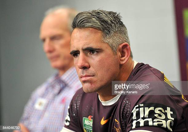 Corey Parker of the Broncos looks frustrated at a press conference after the round 17 NRL match between the Brisbane Broncos and the Melbourne Storm...