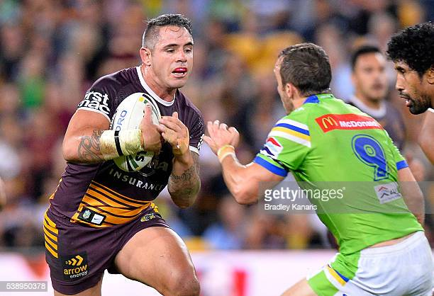 Corey Parker of the Broncos runs with the ball during the round 14 NRL match between the Brisbane Broncos and the Canberra Raiders at Suncorp Stadium...