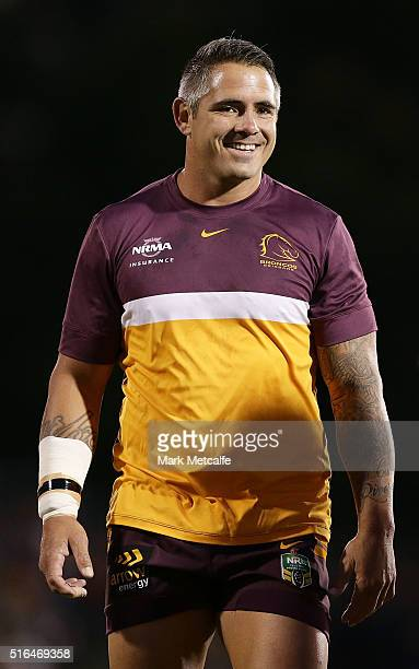 Corey Parker of the Broncos smiles as he warms up before the round three NRL match between the Penrith Panthers and the Brisbane Broncos at Pepper...