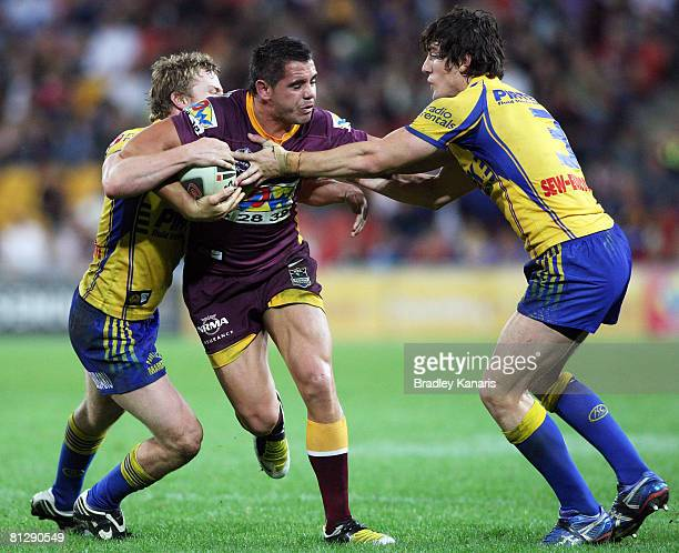 Corey Parker of the Broncos takes on the Eels defence during the round 12 NRL match between the Brisbane Broncos and the Parramatta Eels at Suncorp...
