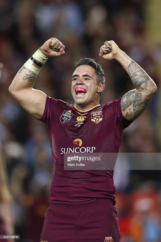 Corey Parker of the Maroons celebrates victory during game two of the State Of Origin series between the Queensland Maroons and the New South Wales Blues at Suncorp Stadium on June 22, 2016 in Brisbane, Australia.