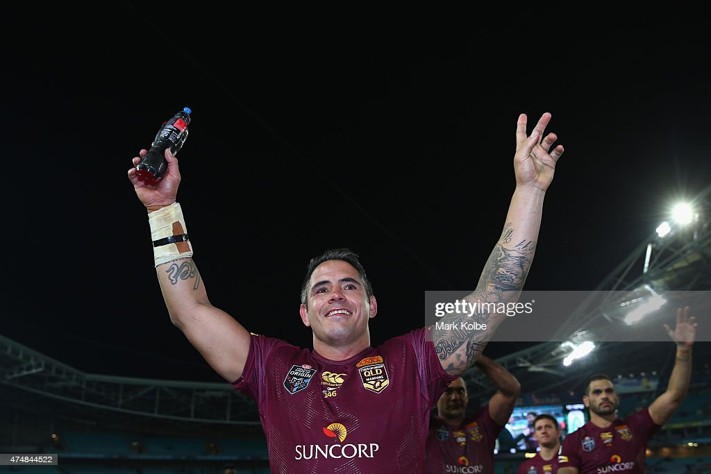 Corey Parker of the Maroons waves to the crowd as he celebrates victory during game one of the State of Origin series between the New South Wales Blues and the Queensland Maroons at ANZ Stadium on May 27, 2015 in Sydney, Australia.