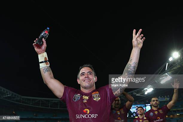 Corey Parker of the Maroons waves to the crowd as he celebrates victory during game one of the State of Origin series between the New South Wales...