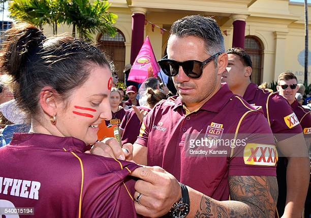 Corey Parker signs autographs during a Queensland Maroons State of Origin Fan Day on June 14 2016 in Gladstone Australia