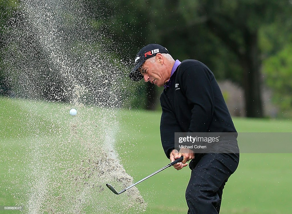 Corey Pavin hits his third shot on the fifth hole from a bunker during the final round of the Allianz Championship held at The Old Course at Broken Sound on February 7, 2016 in Boca Raton, Florida.