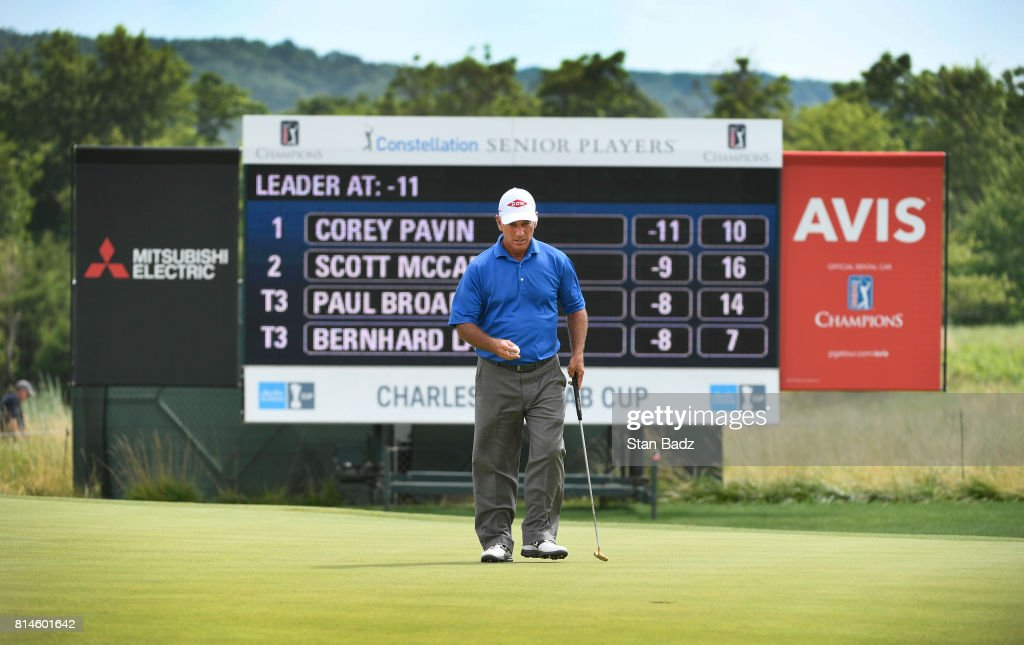 Corey Pavin lines his putt on the 11th hole during the second round of the PGA TOUR Champions Constellation SENIOR PLAYERS Championship at Caves Valley Golf Club on July 14, 2017 in Baltimore, Maryland.