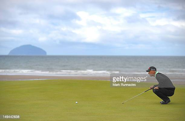Corey Pavin of the United States on the 4th green during the third round of the Senior Open Championship played over the Ailsa courseTurnberry on...
