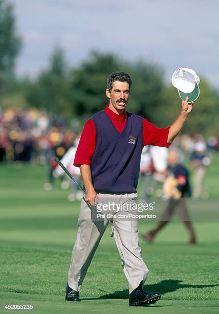 Corey Pavin of the United States team acknowledges the crowd after scoring an eagle during the Ryder Cup golf competition held at The Belfry...