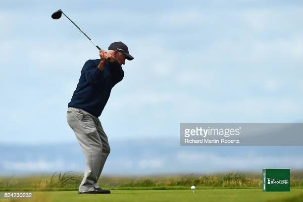 Corey Pavin of the United States tees off on the 3rd hole during the third round of the Senior Open Championship presented by Rolex at Royal...