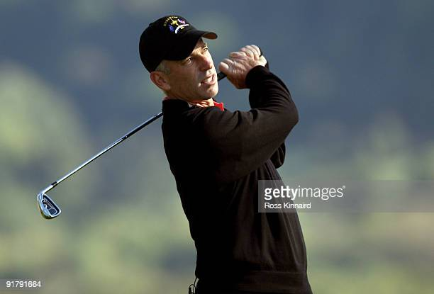 Corey Pavin the American Ryder Cup captain in action during the 'Year to Go' exhibition match at Celtic Manor Resort on October 12 2009 in Newport...