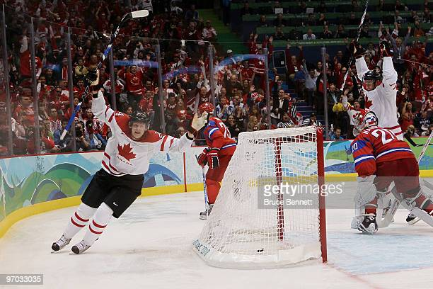 Corey Perry of Canada celebrates after a second period goal against Russia during the ice hockey men's quarter final game between Russia and Canada...