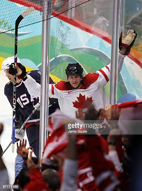 Corey Perry of Canada celebrates after scoring against United States in the second period during the ice hockey men's gold medal game between USA and...