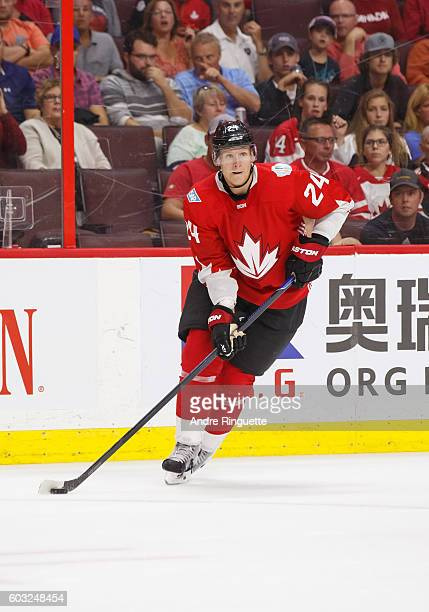 Corey Perry of Team Canada skates during the World Cup of Hockey 2016 Pre-Tournament game between Canada and USA at Canadian Tire Centre on September...