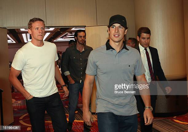 Corey Perry of the Anaheim Ducks and Sidney Crosby of the Pittsburgh Penguins arrive for the NHLPA press conference at Marriott Marquis Times Square...